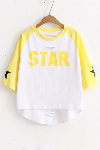 New Fashion Color Block Letter Printed Round Neck Dipped Hem Ripped T-Shirt