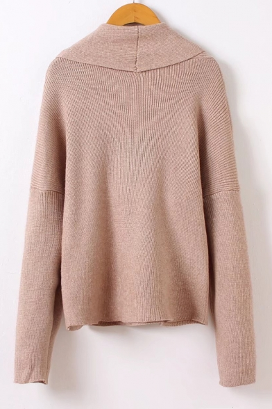 Long V Neck Stylish Wrap Sleeve New Pullover Sweater Plain 7vnHxwq1w