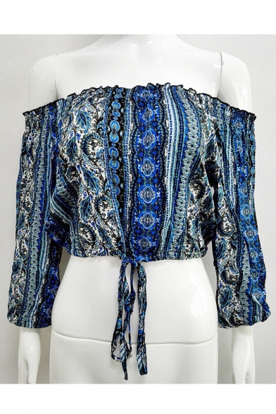 Summer's Boho Style Printed Off The Shoulder 3/4 Sleeve Cropped Blouse