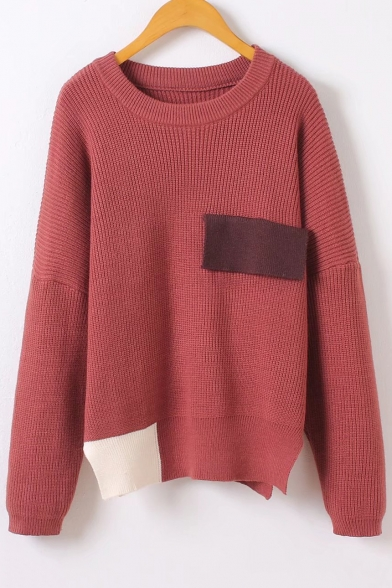 Fall Winter Collection Round Neck Long Sleeve False Pocket Contrast Trim Pullover Sweater