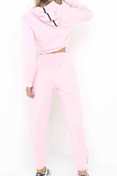 Striped Side Plain Sports Sleeve Fashion Cropped Pants with Long Hoodie R4qP0WaZYw
