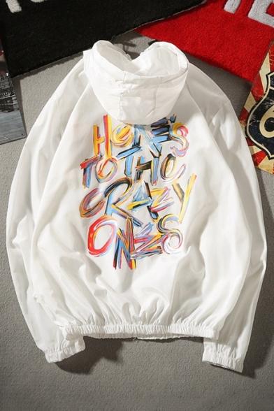 Hooded Coat Fashion Back Letter Unisex Graffiti Up Sleeve Long Zip 1RZwFRq