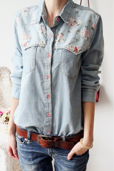 Floral Printed Fashion Long Sleeve Lapel Collar Buttons Down Chambray Shirt