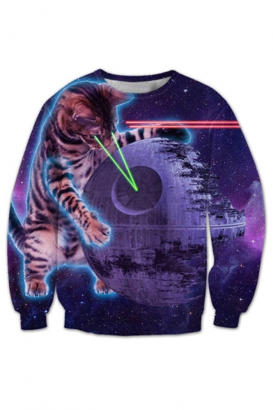 Hot Fashion Digital Galaxy Cat Printed Round Neck Long Sleeve Leisure Sweatshirt