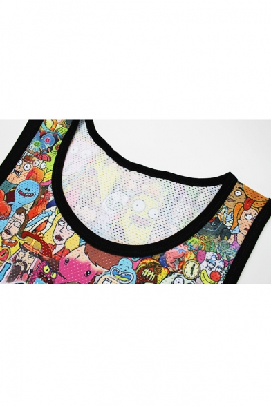 Sleeveless Neck Arrival Printed Round Cartoon Tee Loose New Tank 3D Sports 1SBAqAY
