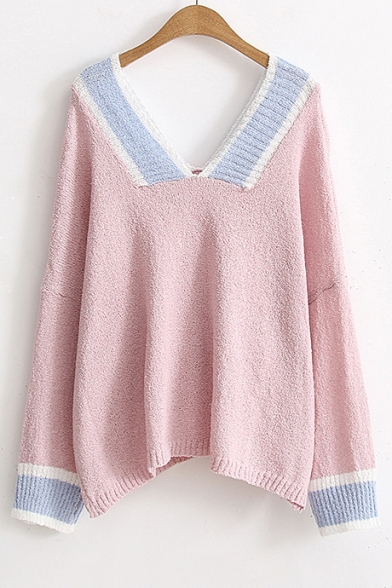 New Fashion Color Block V Neck Long Sleeve Casual Loose Pullover
