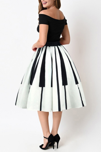 cfabe3bfd ... New Fashion Striped Printed High Rise Elastic Waist Midi Flared Skirt  ...