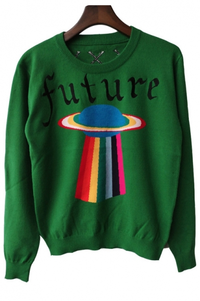 Geometry Letter Print Round Neck Long Sleeve Pullover Sweater LC445508 фото