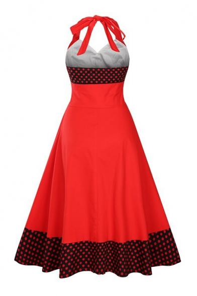 Midi Retro New Neck Dot Halter Block Color Dress Arrival Flared Polka Sleeveless wzRna5xAzq