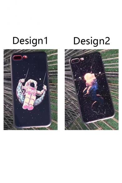 Cartoon Galaxy Swing Astronaut Pattern Fashion iPhone Case