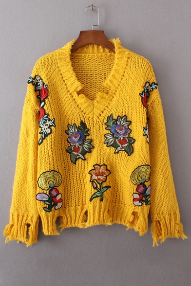 Chic Floral Embroidered Applique V Neck Long Sleeve Ripped Pullover Sweater