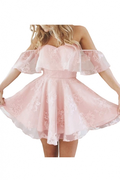 Chic Ruffle Hem Off The Shoulder Short Sleeve Lace Mini Fit & Flare Dress