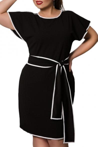 Fashion Elegant Round Neck Short Sleeve Tied Waist Color Block Midi Pencil Dress