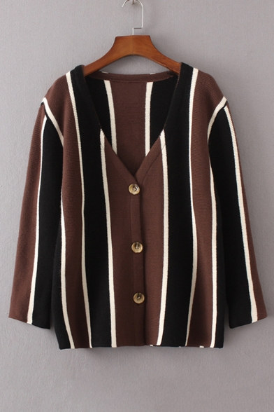 Loose Color Block Vertical Striped Single Breasted Cardigan