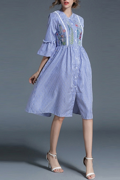 eacd35744 New Arrival Fashion Floral Embroidered Striped Printed Buttons Down Midi Shirt  Dress ...