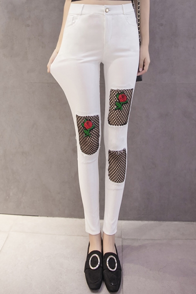 New Fashion Sheer Mesh Floral Embroidered High Waist Skinny Jeans