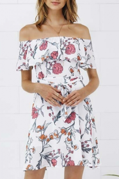 Sexy Off the Shoulder Ruffle Front Short Sleeve Floral Printed Mini A-Line Dress