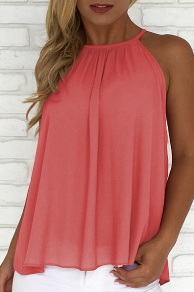 Summer's Halter Neck Hollow Buttons Down Back Plain Loose Cami Top