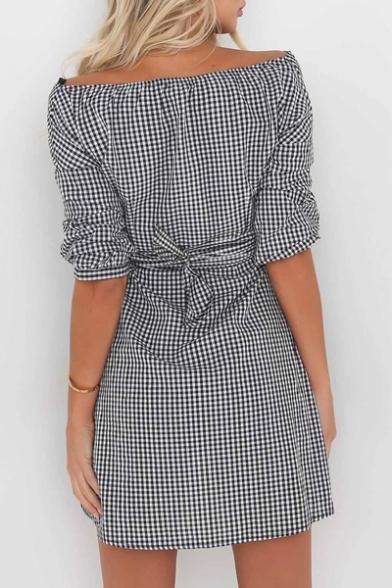 Waist Belt Plaid V Block Color Fashion Asymmetric Half Dress Wrap Sleeve Neck zH86dwaq