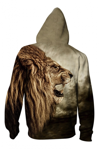 Zip Pattern Fashion Up Lion Unisex Sleeve Leisure Long 3D Hoodie Hot wCIRqxaw