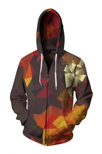 Hot Fashion Geometric Printed Long Sleeve Zip Up Hoodie for Couple