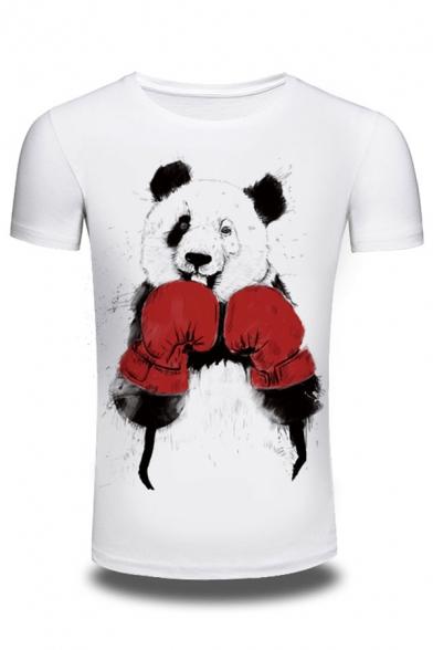 Pullover Round Neck T Cartoon Pattern Short Stylish Box Sleeve New Shirt Panda XBFqFz