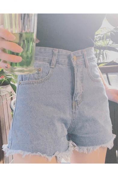 Summer's High Rise Chic Floral Embroidered Fringe Hem Denim Shorts