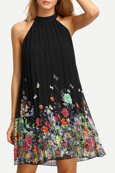 Women's Butterfly Floral Printed Sleeveless Halter Neck Mini Swing Dress