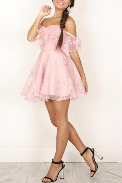 Chic Ruffle Hem Off The Shoulder Short Sleeve Lace Mini Fit & Flare Dress