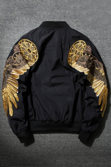 Gold Wings Printed Stand Up Collar Long Sleeve Retro Zip Up Bomber Jacket