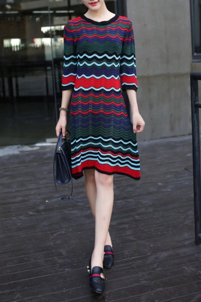 New Fashion Round Neck 3/4 Sleeve Wave Striped Printed Midi A-Line Dress