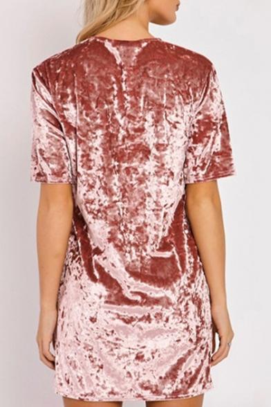 Summer Hot Fashion Round Neck T-shirt Mini Velvet Dress