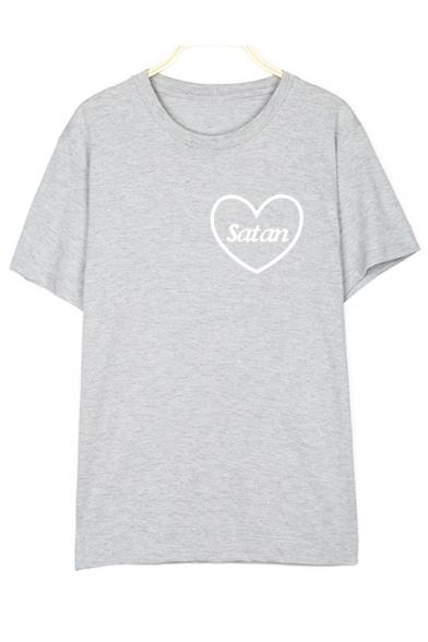 Comfort Cotton Round Neck Short Sleeve Letter Sweet Heart Pattern T-Shirt
