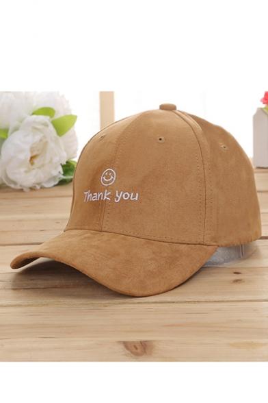 Cute Embroidery Thank You Smile Face Pattern Adjustable Baseball Cap -  Beautifulhalo.com 2e2124a5178