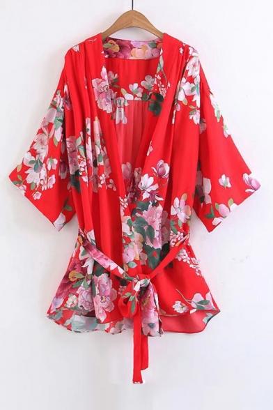 Floral Printed Open Front Half Sleeve Belt Waist Tunic Kimonos