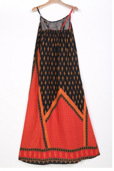 Holiday Beach Spaghetti Straps Tribal Printed Maxi Slip Dress with Belt