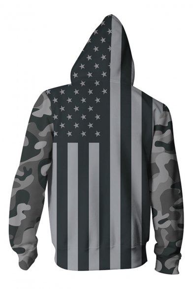 New Fashion American Flag Printed Long Sleeve Zip Up Hoodie with Pockets