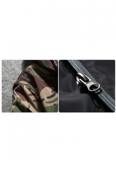 Hooded Color Coat Printed Fashion Sleeve Long Up Zip Block New Camouflage Aq0w6qS