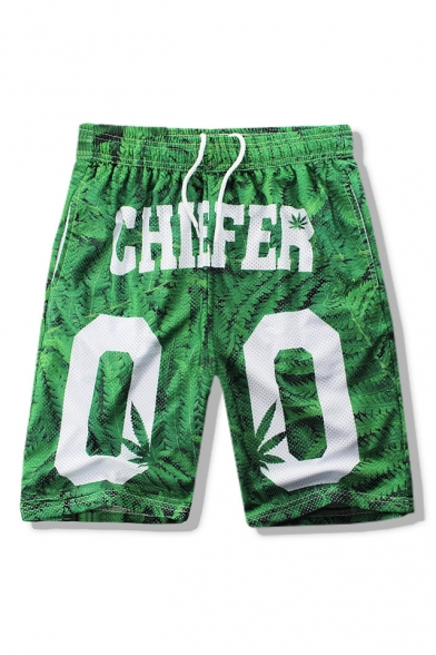 New Stylish Leaves Letter Printed Drawstring Waist Casual Loose Sports Shorts