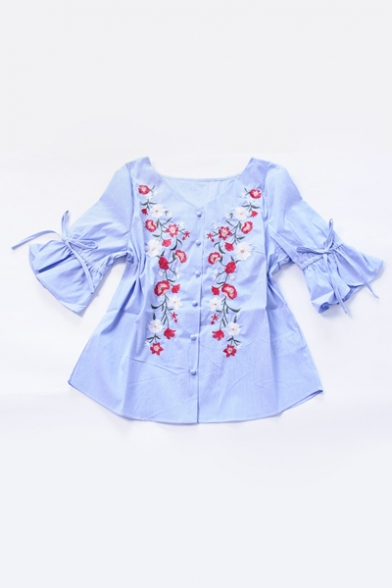 Chic Floral Embroidered Flared Half Sleeve V Neck Striped Buttons Down Top