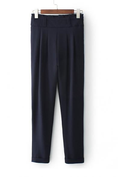 Midi Rise Ruffle Waist Simple Plain Basic Tapered Pants