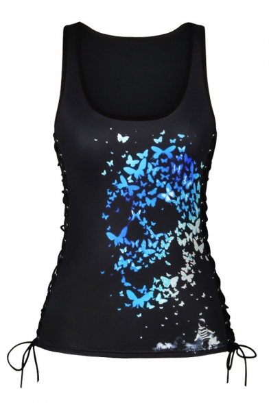 New Arrival 3D Skull Pattern Scoop Neck Sleeveless Yoga Sports Tank Tee