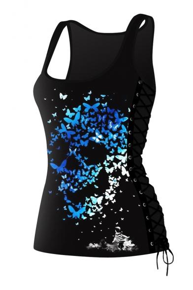 New Arrival 3D Skull Pattern Scoop Neck Sleeveless Yoga Sports Tank Tee