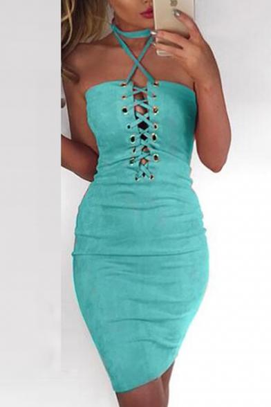 Sexy Grommet Lace-Up Halter Neck Sleeveless Plain Bodycon Mini Dress