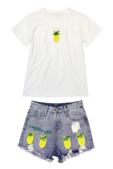 Summer's Pineapple Pattern Round Neck Short Sleeve Tee with Denim Shorts