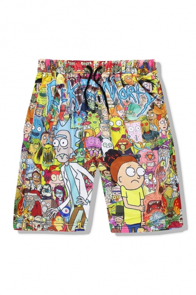 Image of 3D Cartoon Pattern Elastic Drawstring Waist Casual Leisure Sports Shorts