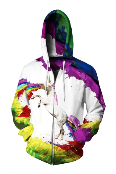 3D Rainbow Horse Printed Unisex Long Sleeve Casual Zip Up Hoodie