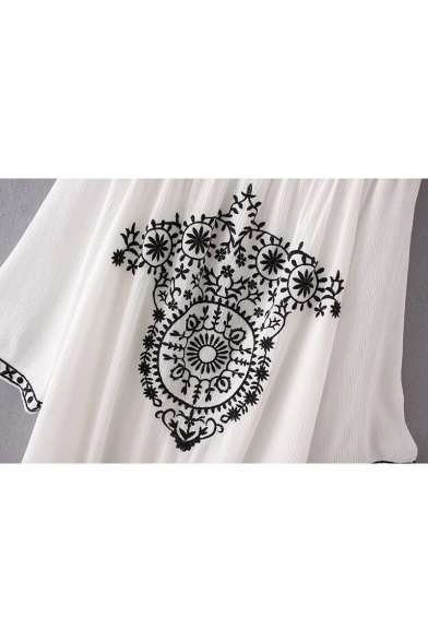 Chic Embroidered Boat Neck 3/4 Sleeve Casual Loose Mini T-Shirt Dress