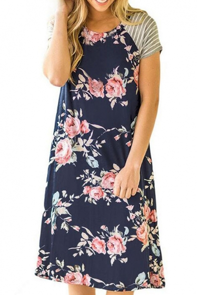 Купить со скидкой Hot Sale Floral Printed Round Neck Short Sleeve Midi Swing T-Shirt Dress