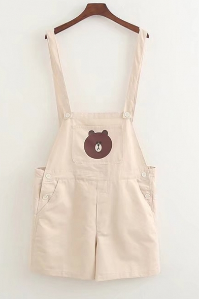 Lovely Cartoon Little Bear Printed Pocket Casual Overall Rompers